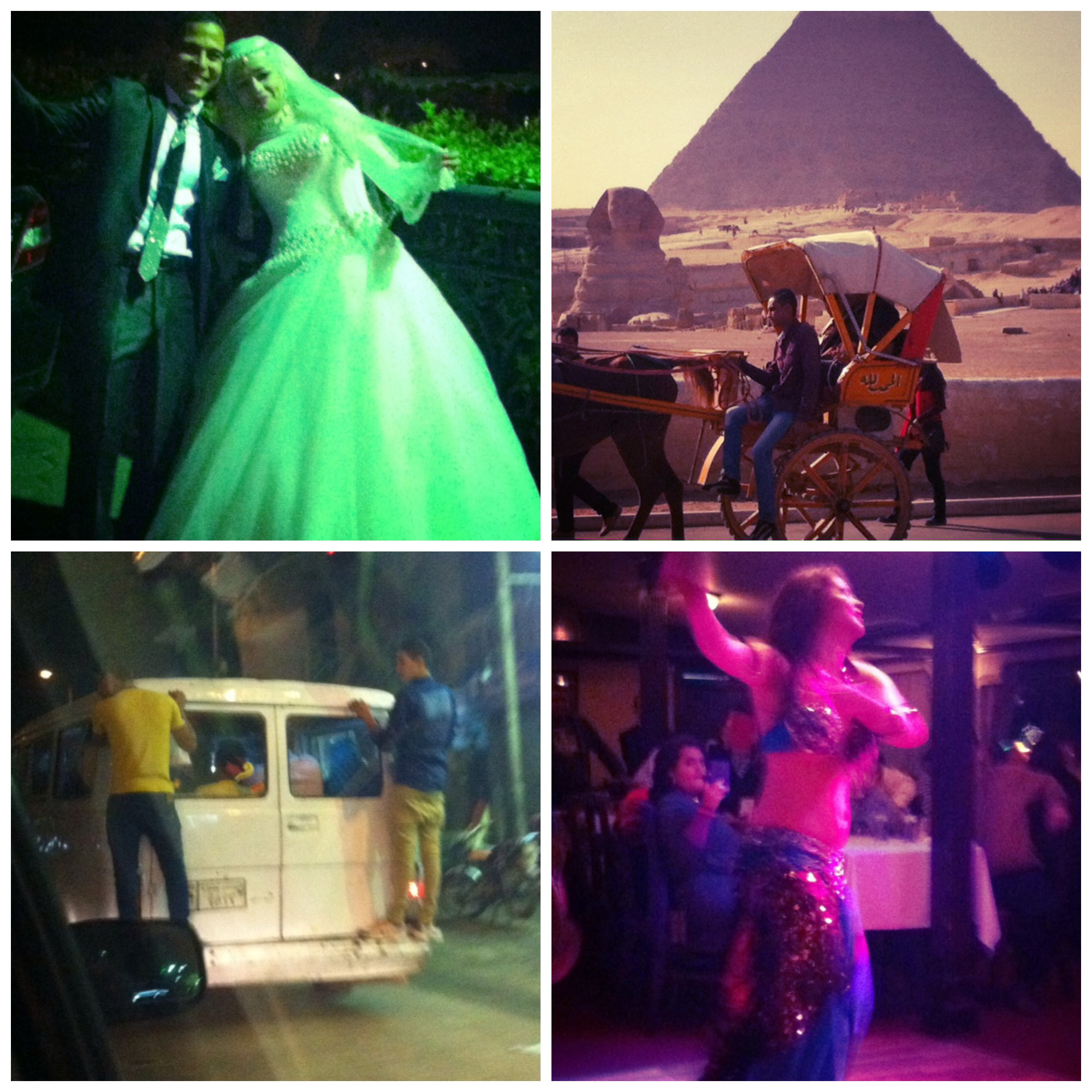 Clockwise from top left: an Egyptian wedding; a man rides his horse and carriage past a scene that's been part of the landscape for thousands of years; a belly dancer mesmerises her audience on a Nile river cruise; and standing room only on the bus.