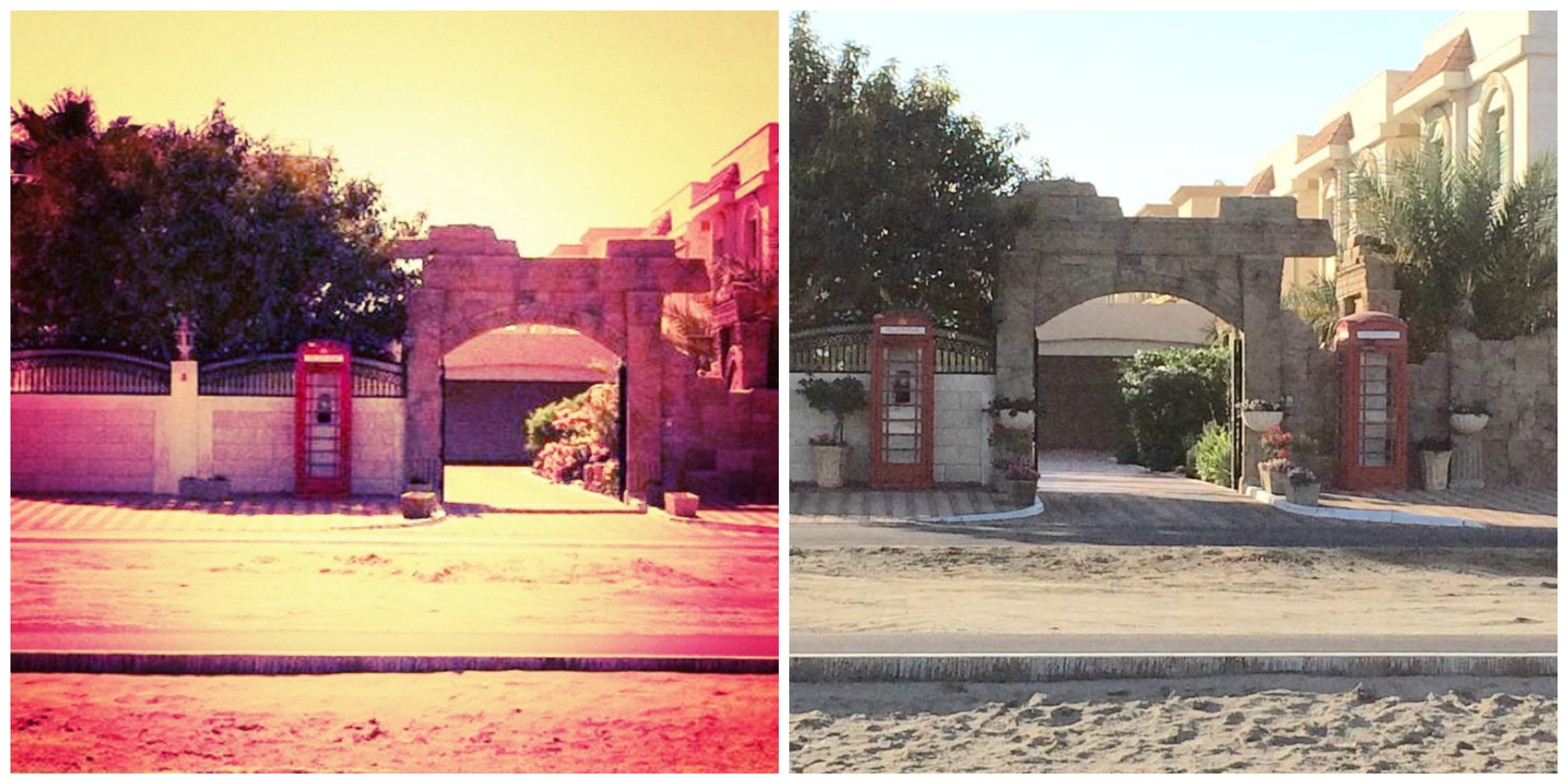 The picture on the left was taken in Abu Dhabi more than a year ago (excuse the filter – must have had sand in the brain). The one on the right is an up-to-date photo, showing their new addition.