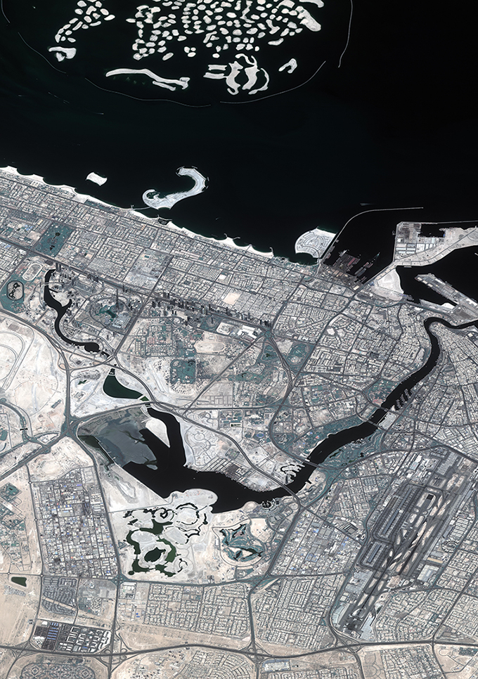 These photos popped into my in-box today. Taken by Dubai's very own 'eye in the sky', they mark the second anniversary of the launch of DubaiSat-2, the emirate's second earth observation satellite. Love how you can see the World islands, two miles off the mainland, the Palm, and, if you peer very closely at the photo above, the 828-metres-high Burj Khalifa.