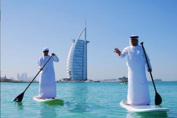 With the sea generally fairly flat, stand-up paddleboarding has become popular in the UAE