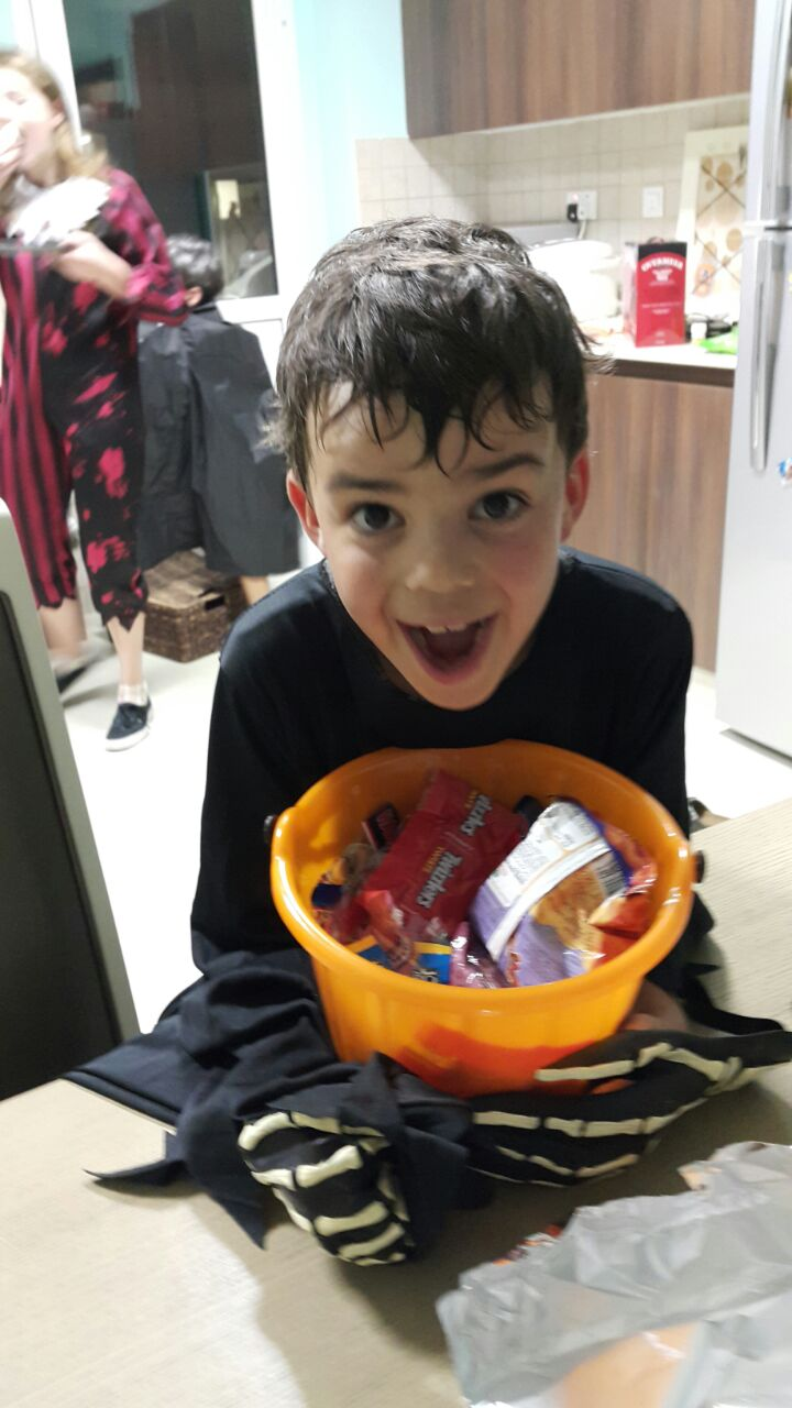 Stash of sweets: The face says it all really